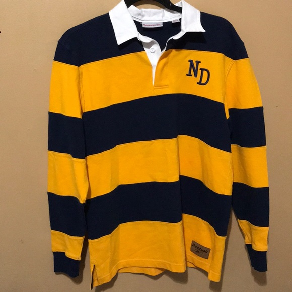 Reebok Shirts Mens Notre Dame Long Sleeve Polo Poshmark